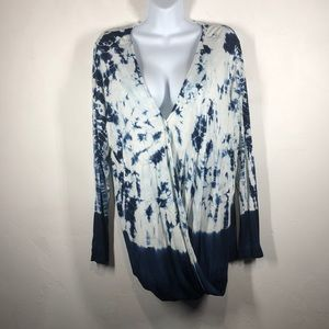 Rock & Republic blue tie dye wrap tee size 0X
